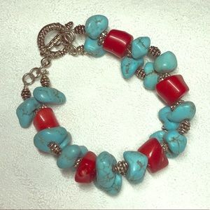 Jewelry - Vintage Semi-Precios Turquoise and Coral bracelet